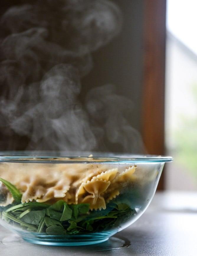 farfalle with marinated feta, arugula and toasted pine nuts I howsweeteats.com