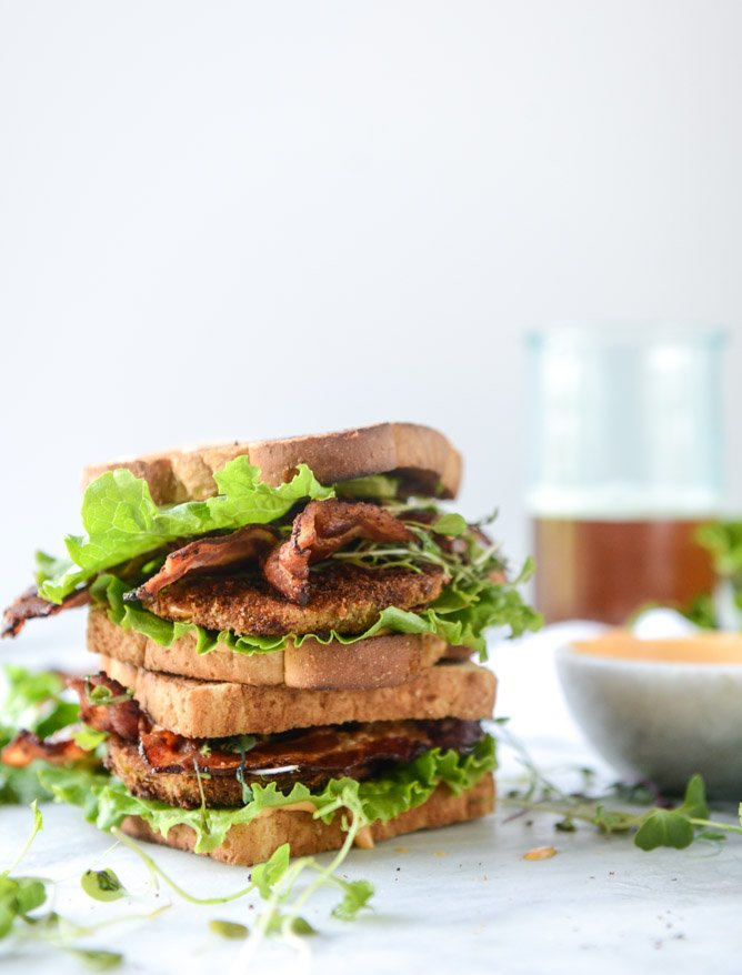 bacon fried green tomato BLTs with homemade special sauce I howsweeteats.com