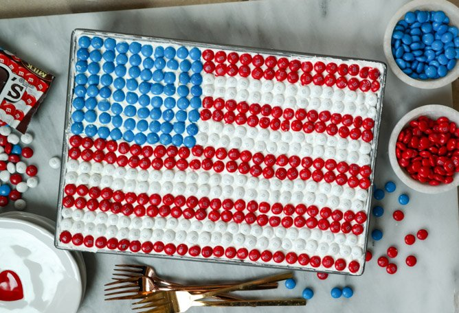 red white and blue poke cake with M&M's I howsweeteats.com