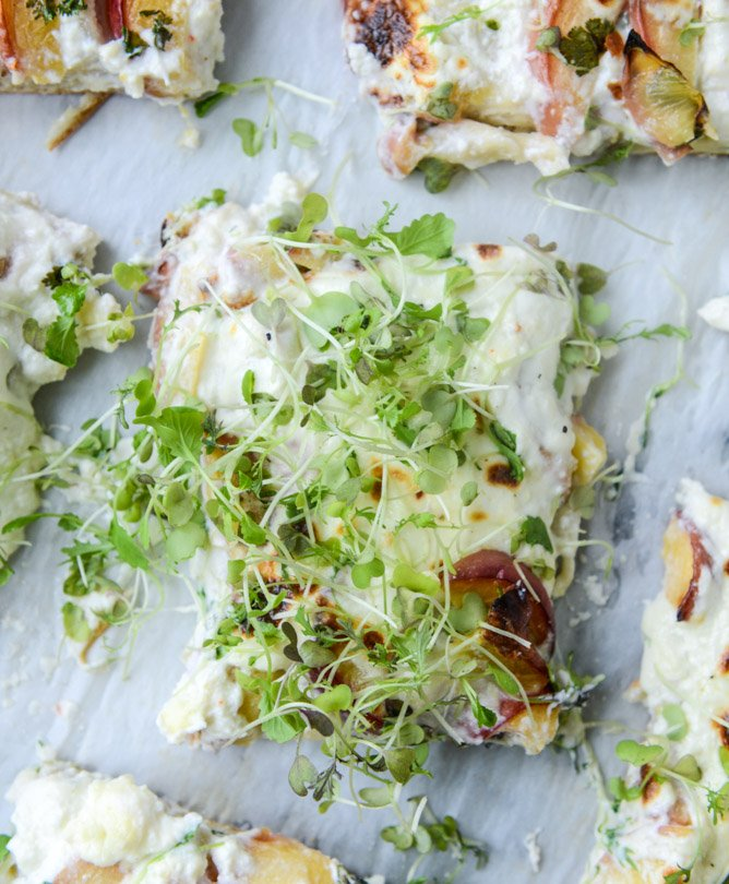 peach ricotta pizza with spicy microgreens I howsweeteats.com