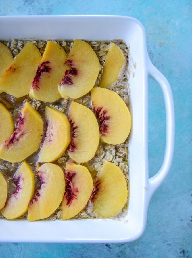 baked peaches and cream oatmeal I howsweeteats.com
