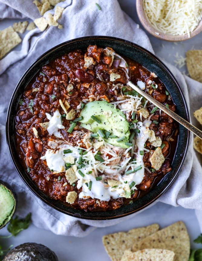 game day beer chili I howsweeteats.com