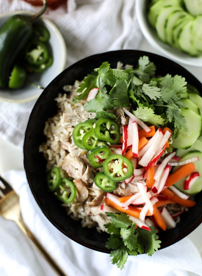 slow cooker banh mi rice bowls I howsweeteats.com