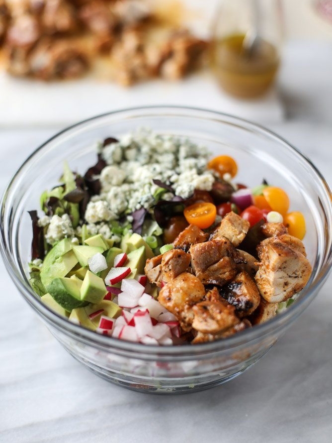 honey mustard chicken chopped salad I howsweeteats.com