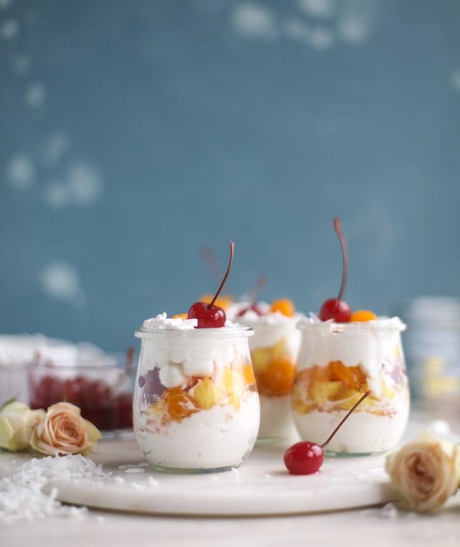 ambrosia whipped yogurt fruit parfaits I howsweeteats.com