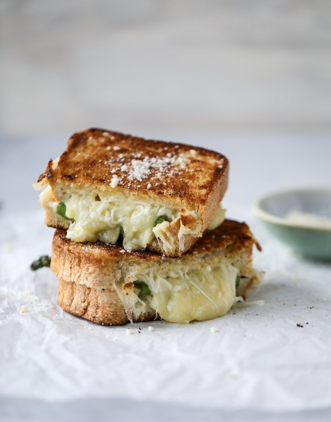 asparagus grilled cheese with brown butter & dijon I howsweeteats.com