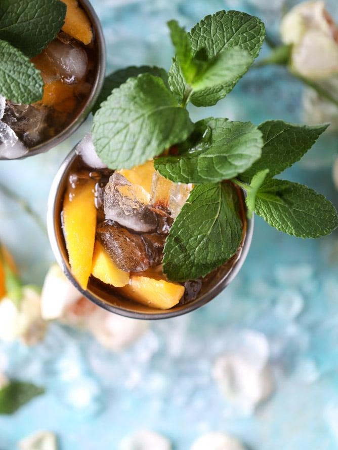 frozen peach and vanilla mint juleps I howsweeteats.com