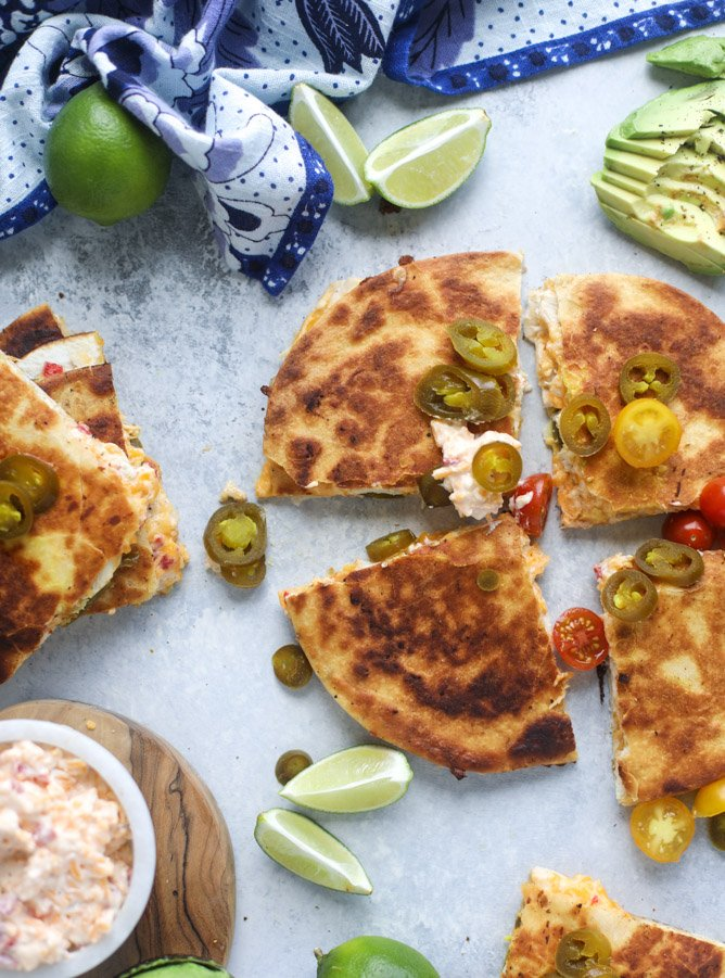 pimento cheese chicken quesadillas I howsweeteats.com