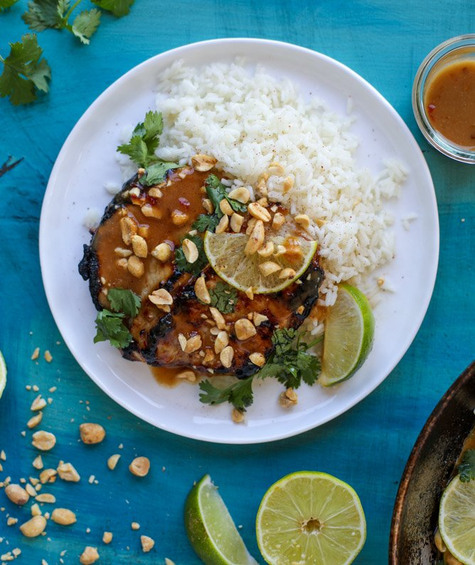 thai skillet pork chops with coconut rice I howsweeteats.com
