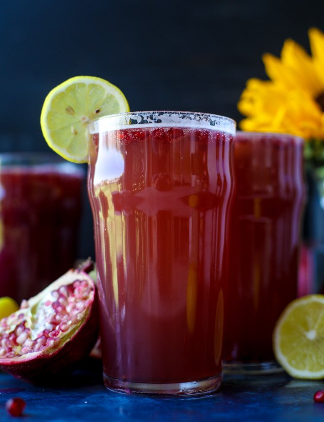 pomegranate shandy recipe I howsweeteats.com