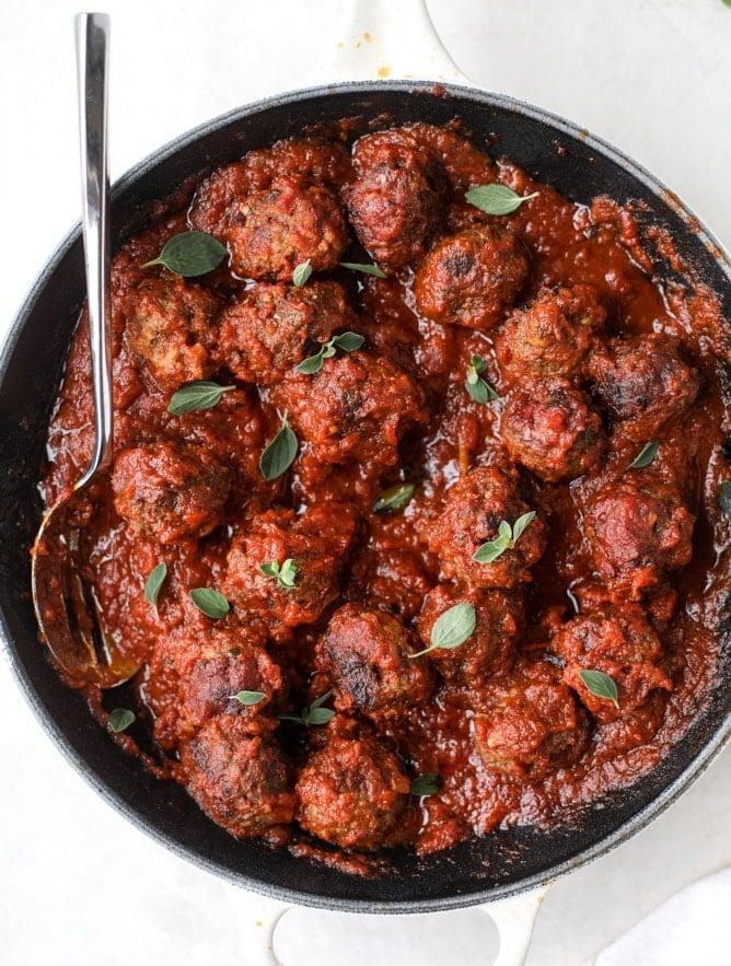 bacon meatballs with bucatini I howsweeteats.com #bacon #pasta #meatballs