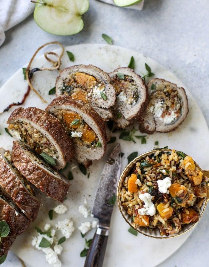 butternut, apple and goat cheese stuffed pork tenderloin I howsweeteats.com #pork #squash #holiday #recipes
