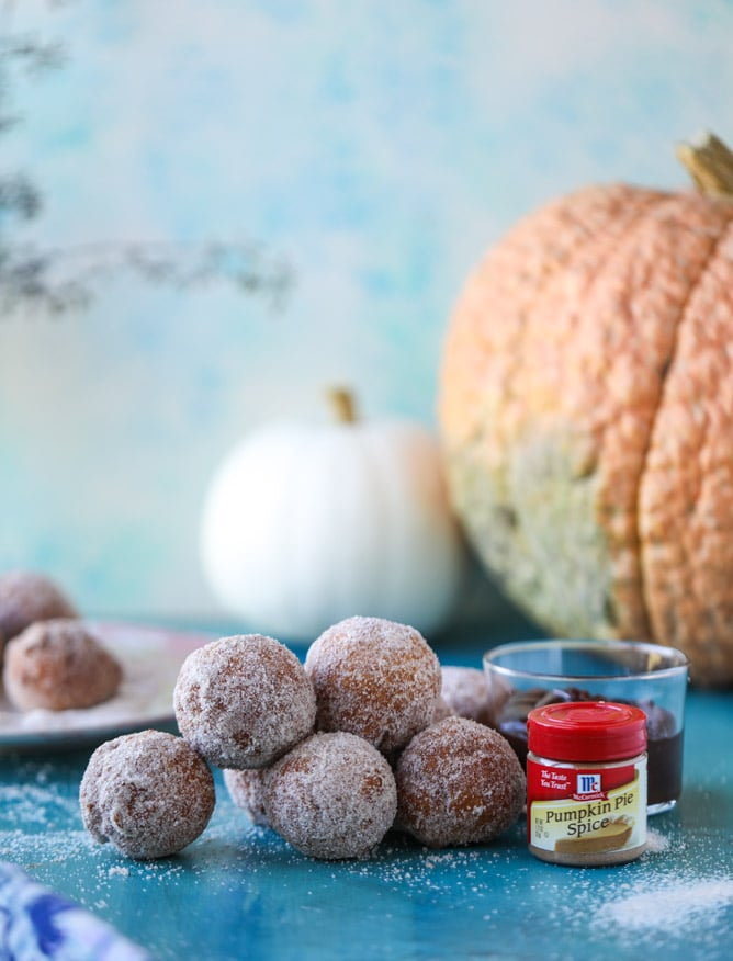 pumpkin doughnut holes with hot fudge I howsweeteats.com