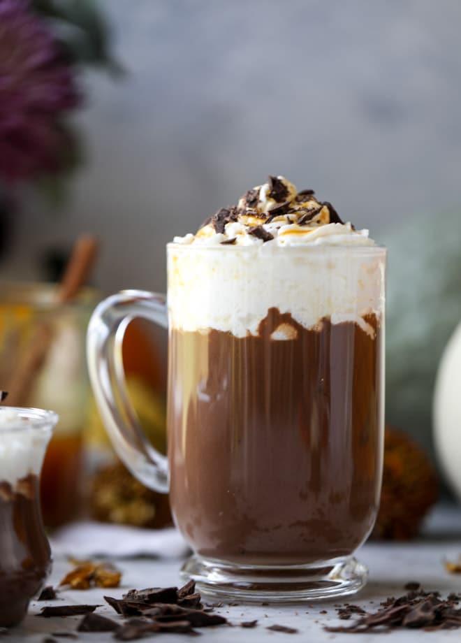 pumpkin coconut hot chocolate I howsweeteats.com #pumpkin #hotchocolate #drinks