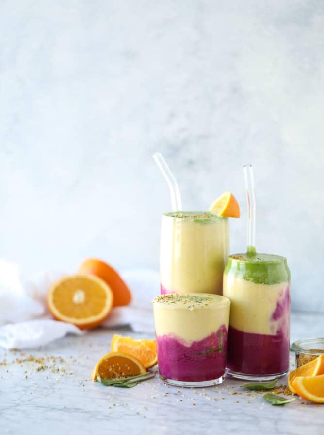 layered immunity boosting smoothie I howsweeteats.com #healthy #recipes #smoothie #immunityboosting