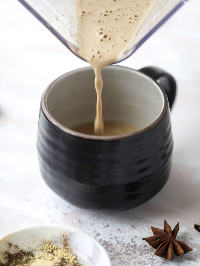 coconut chai power coffee I howsweeteats.com #coffee #coconut #chai #bulletproof #coconutoil