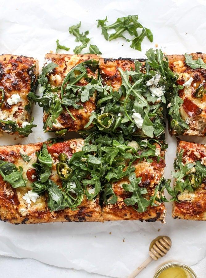 hot honey goat cheese pepperoni pizza I howsweeteats.com #detroitstyle #pepperoni #pizza #goatcheese