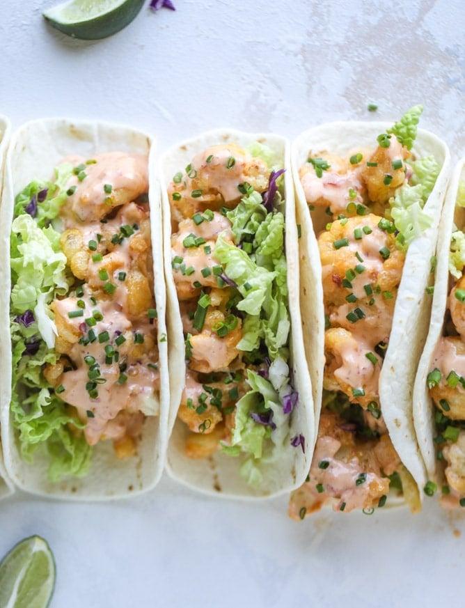 bang bang cauliflower tacos I howsweeteats.com #bangbang #cauliflower #tacos #vegetarian