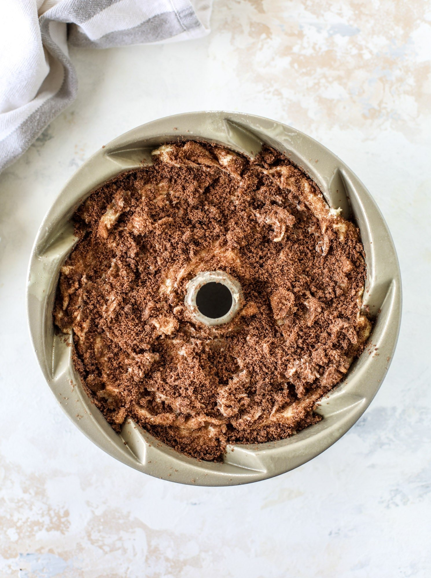 coffee cake in nordicware bundt pan