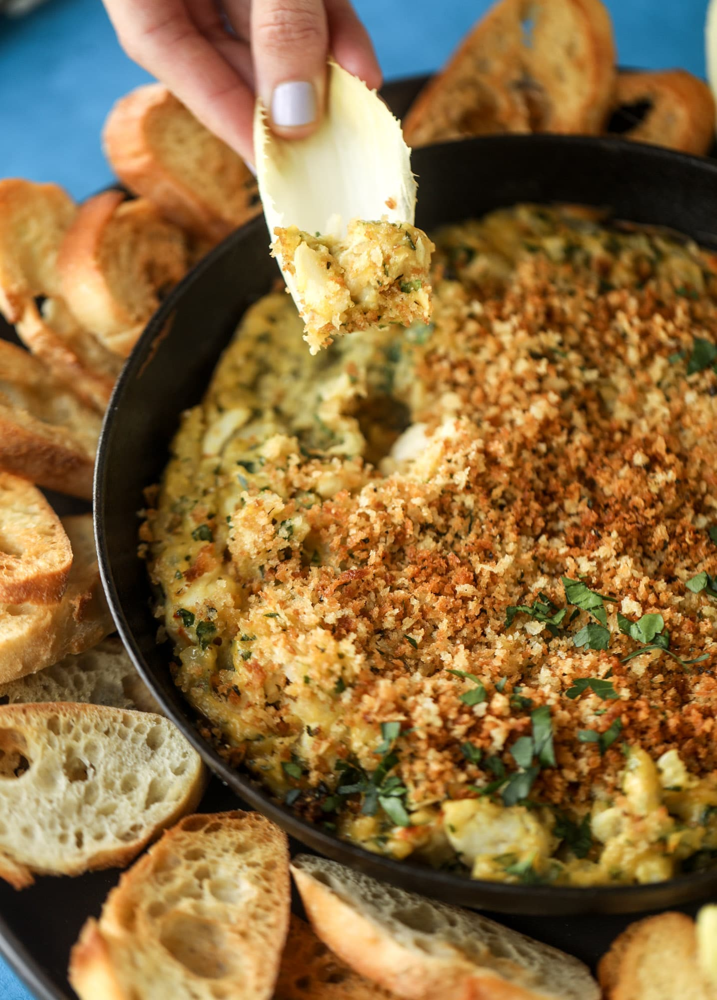 This deviled crab dip is the perfect hot summer appetizer. Lump crab, a creamy, decadent sauce, crunchy breadcrumbs and fresh endive for dipping. YES.