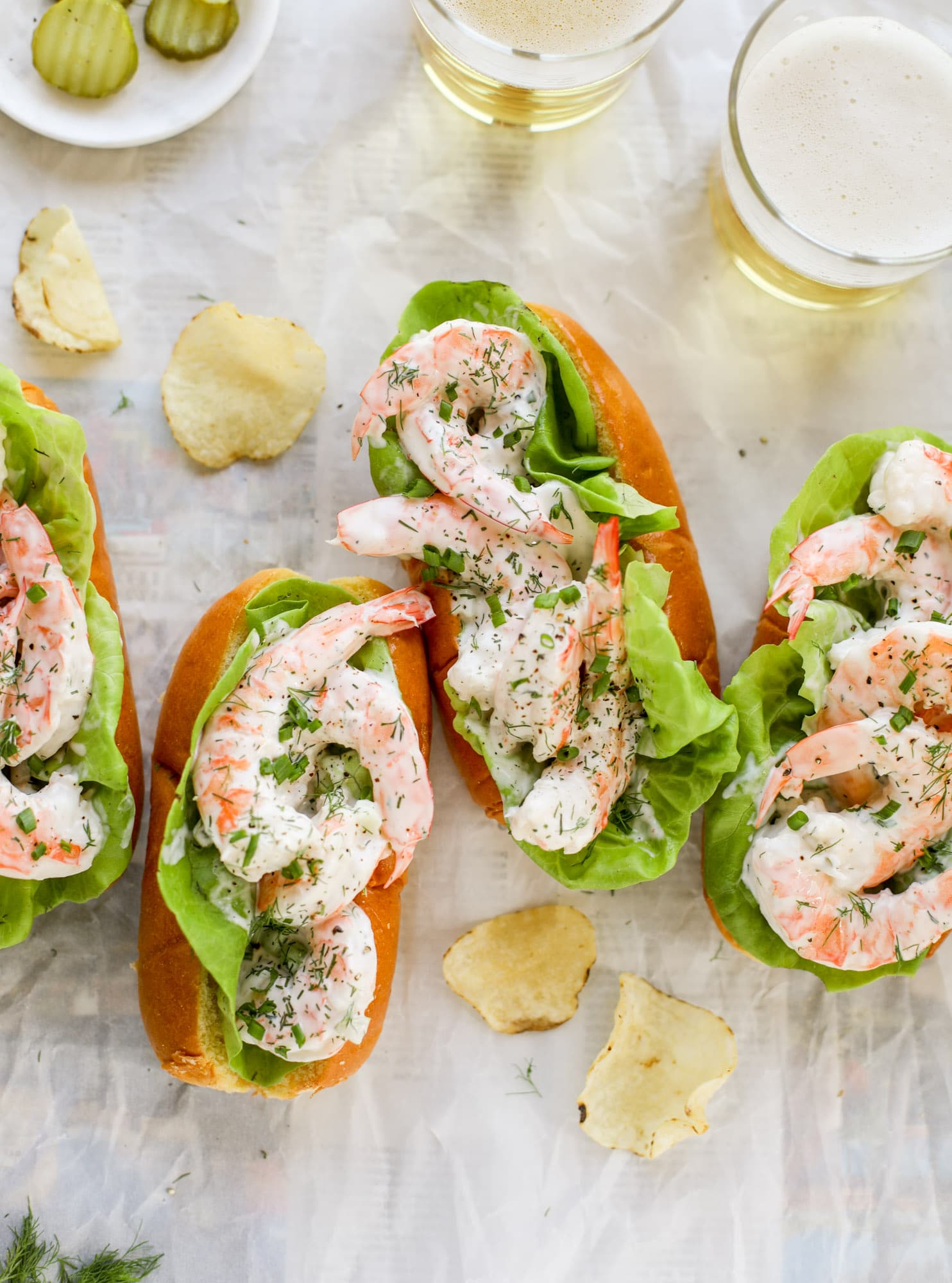 These shrimp salad rolls are my go-to simple, easy, no-cook dinner for hot summer day. Serve with pickles, potato chips and a spritz of lemon!