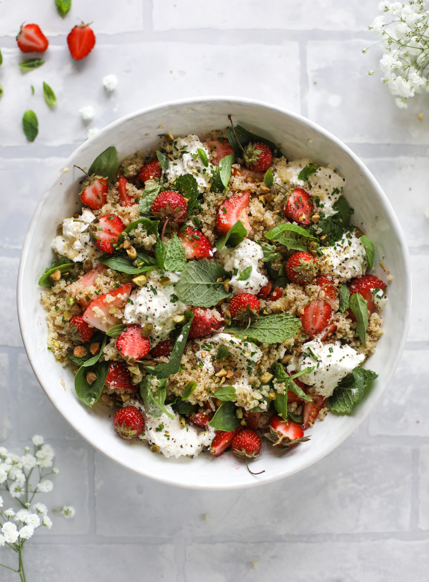 Strawberry Quinoa Salad With Burrata Fresh Herbs And Pistachios