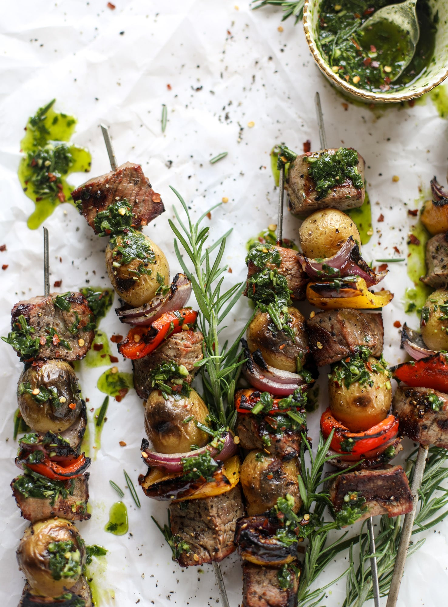 These steak and potato skewers are a complete meal in one! Serve with chimichurri for the ultimate flavor explosion. These are delicious!