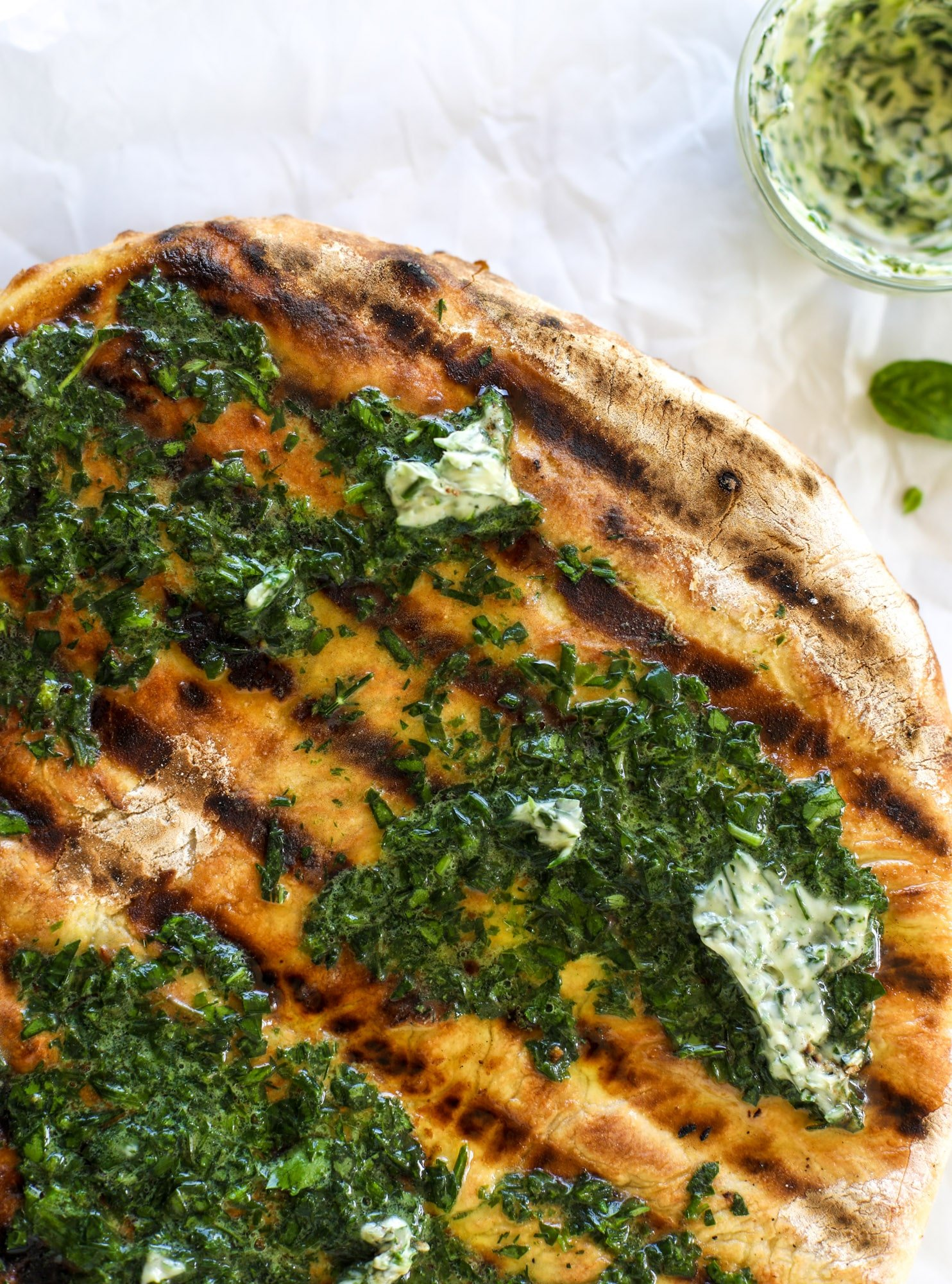 grilled pizza with garlic herb butter