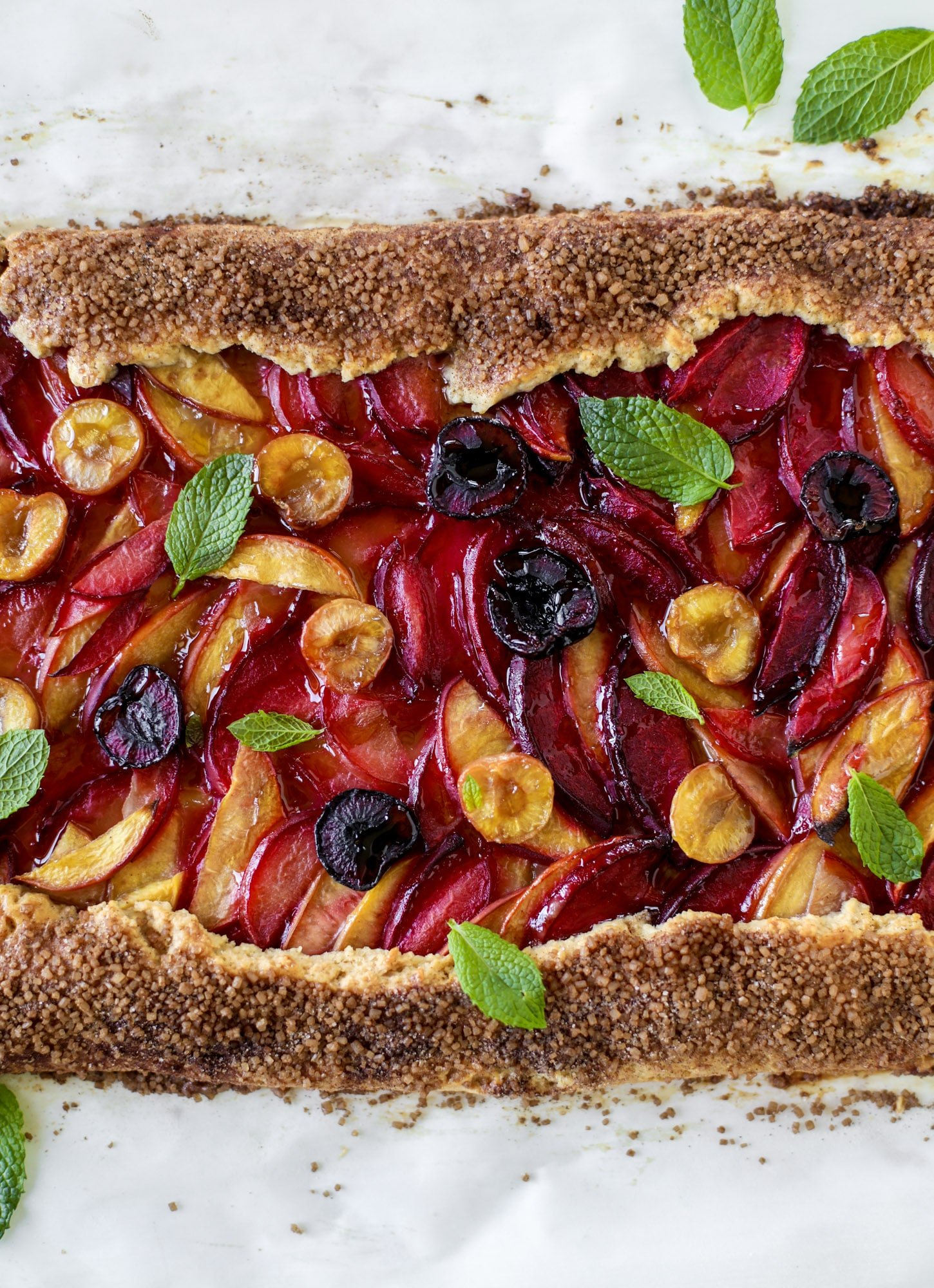 I love a stone fruit tart! Peaches, plums, pluots and cherries come together in a golden cinnamon sugar crust for the ultimate summer dessert.