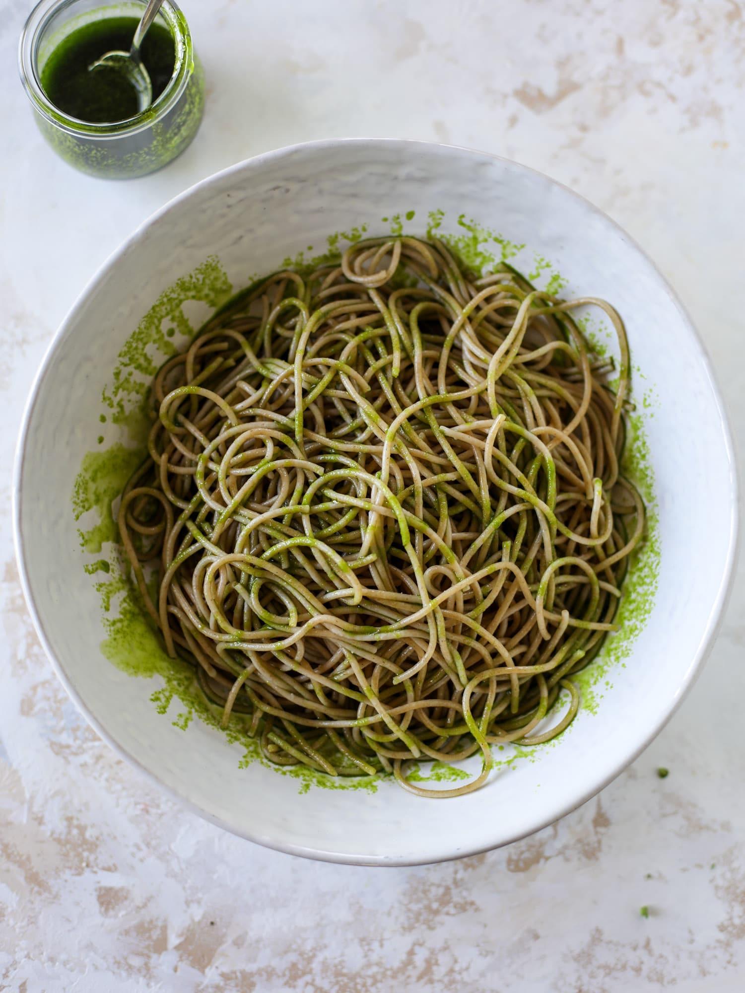 spaghetti tossed in basil oil