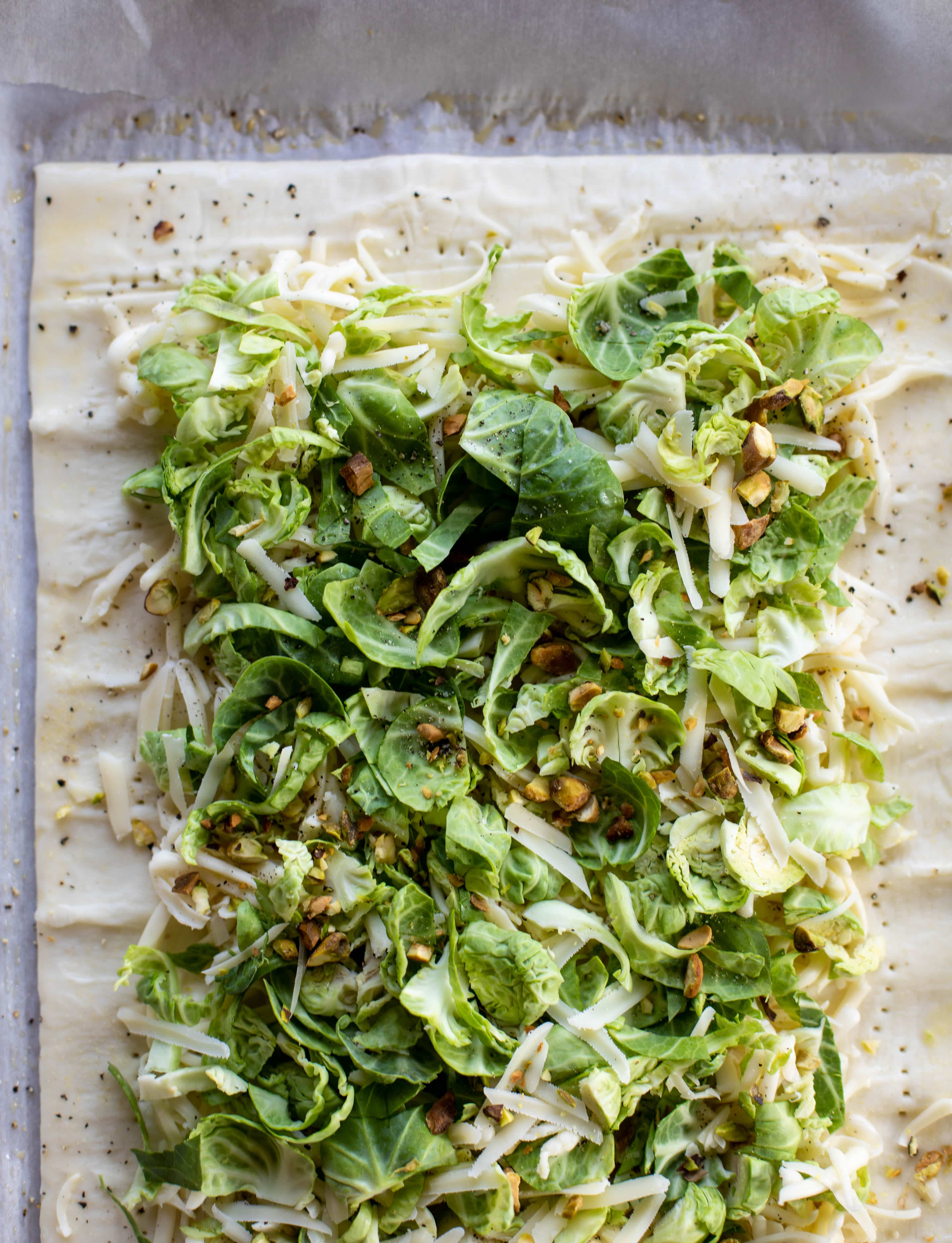 puff pastry with brussels sprouts