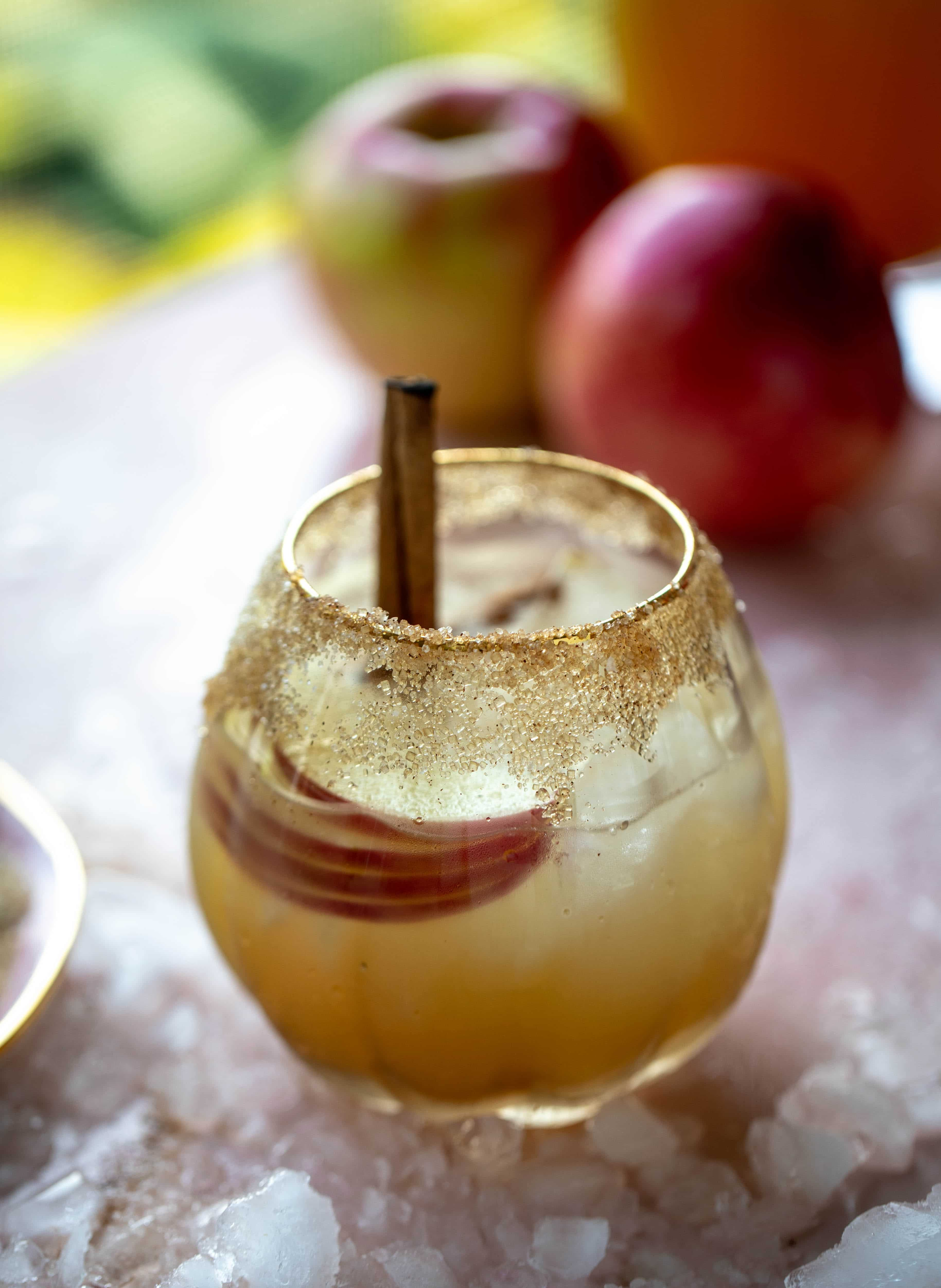 This apple cider mezcal margarita is a delicious, smoky cocktail for fall! It's warming and refreshing and delicious all at once. Cheers!