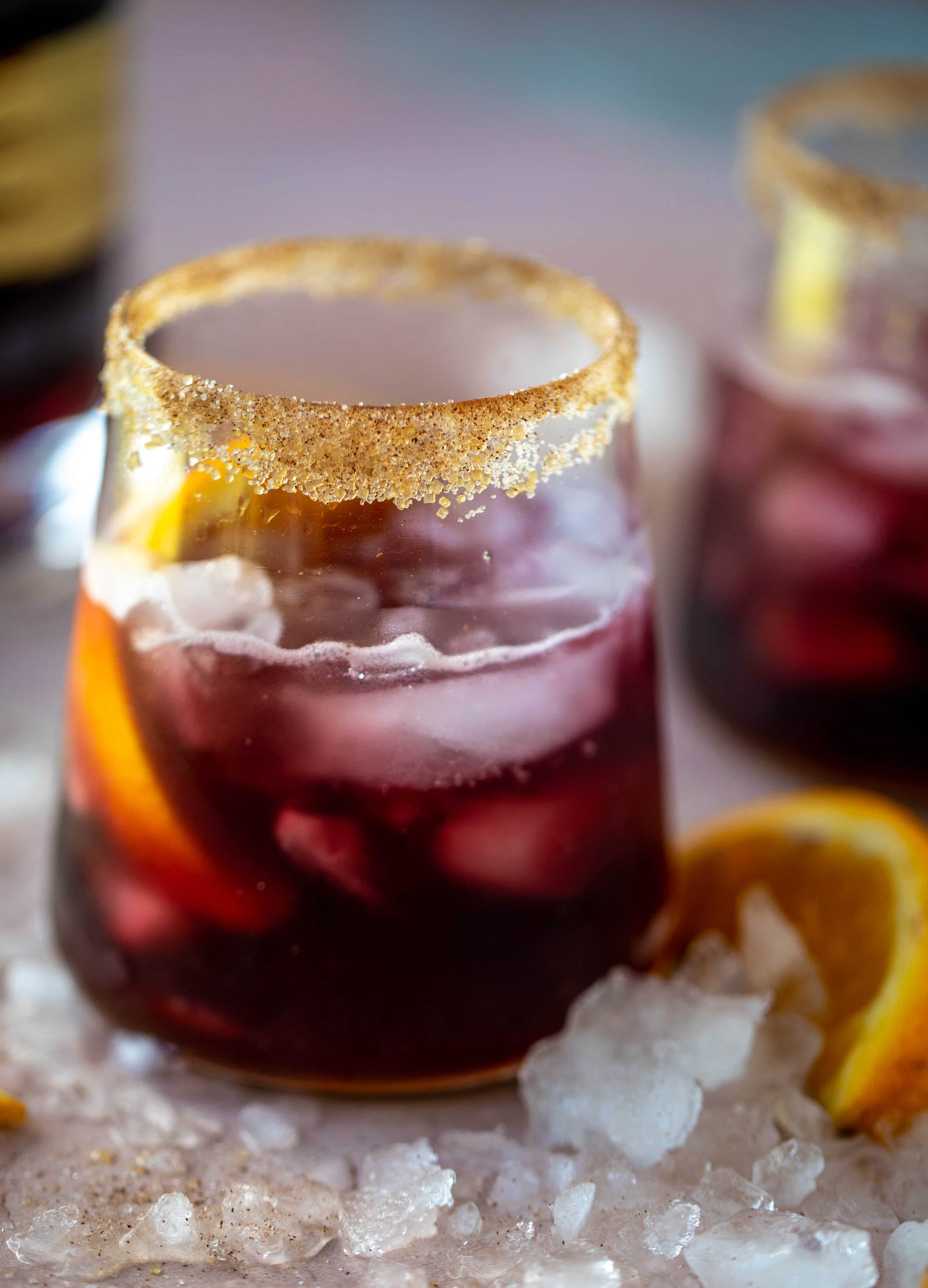 A refreshing and warming lambrusco smash, made with bubbly red wine, bourbon, orange soda and maple syrup. Tastes like the holidays!
