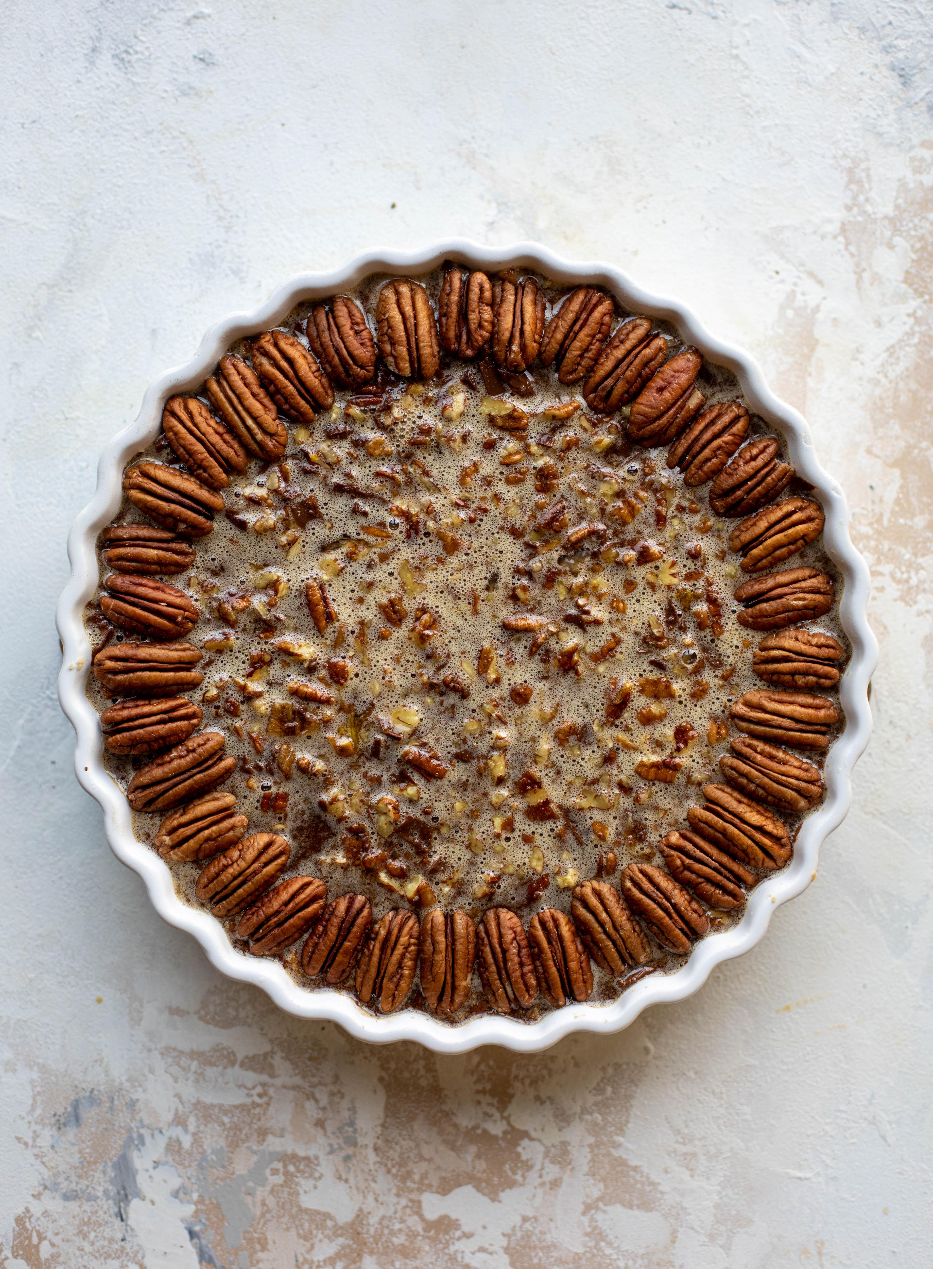 pecan tart prepped for the oven