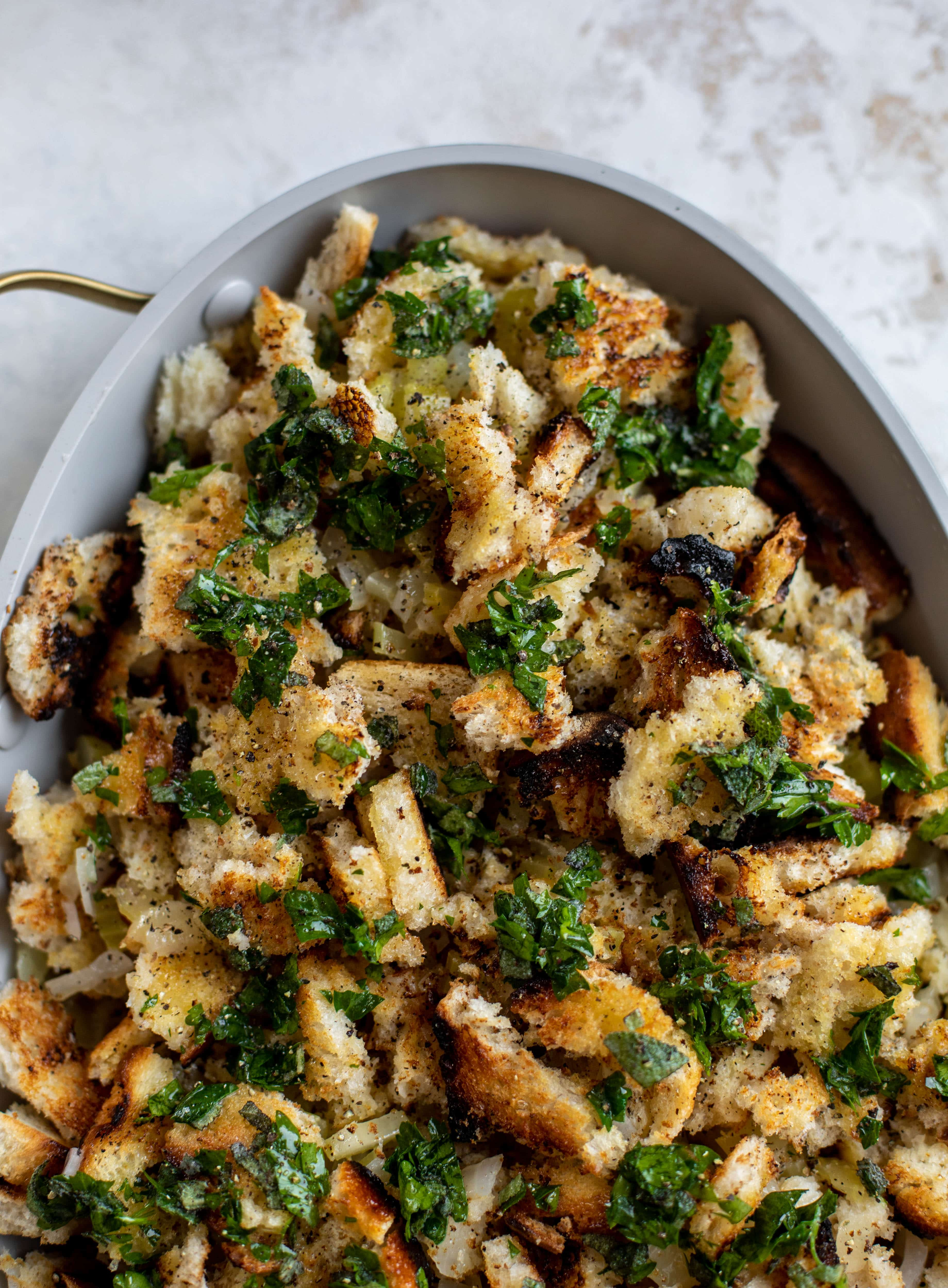 This grilled bread stuffing is a modern twist on the classic - deliciously traditional and flavored to perfection, made with grilled bread!