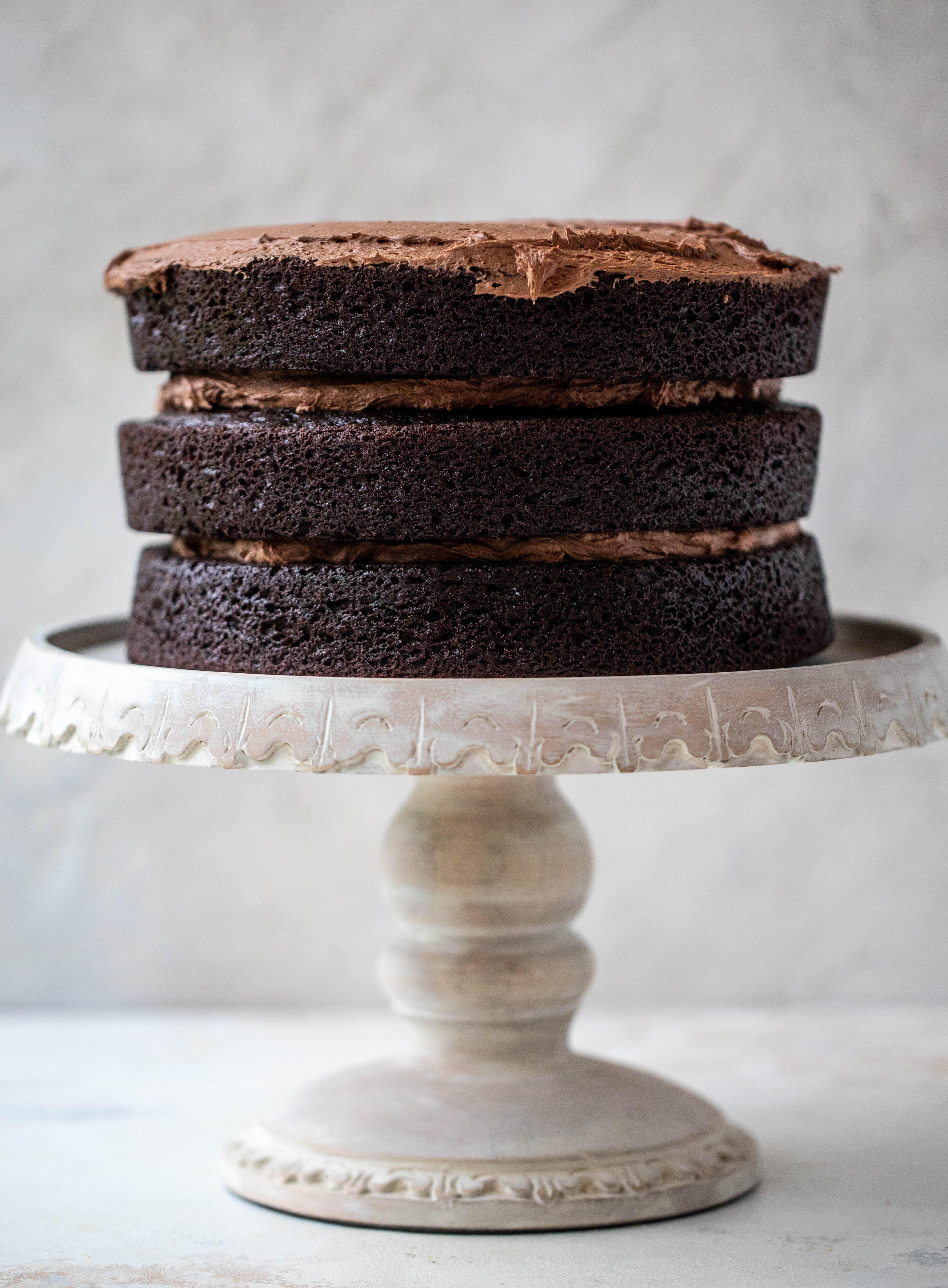 layered frosted chocolate cake