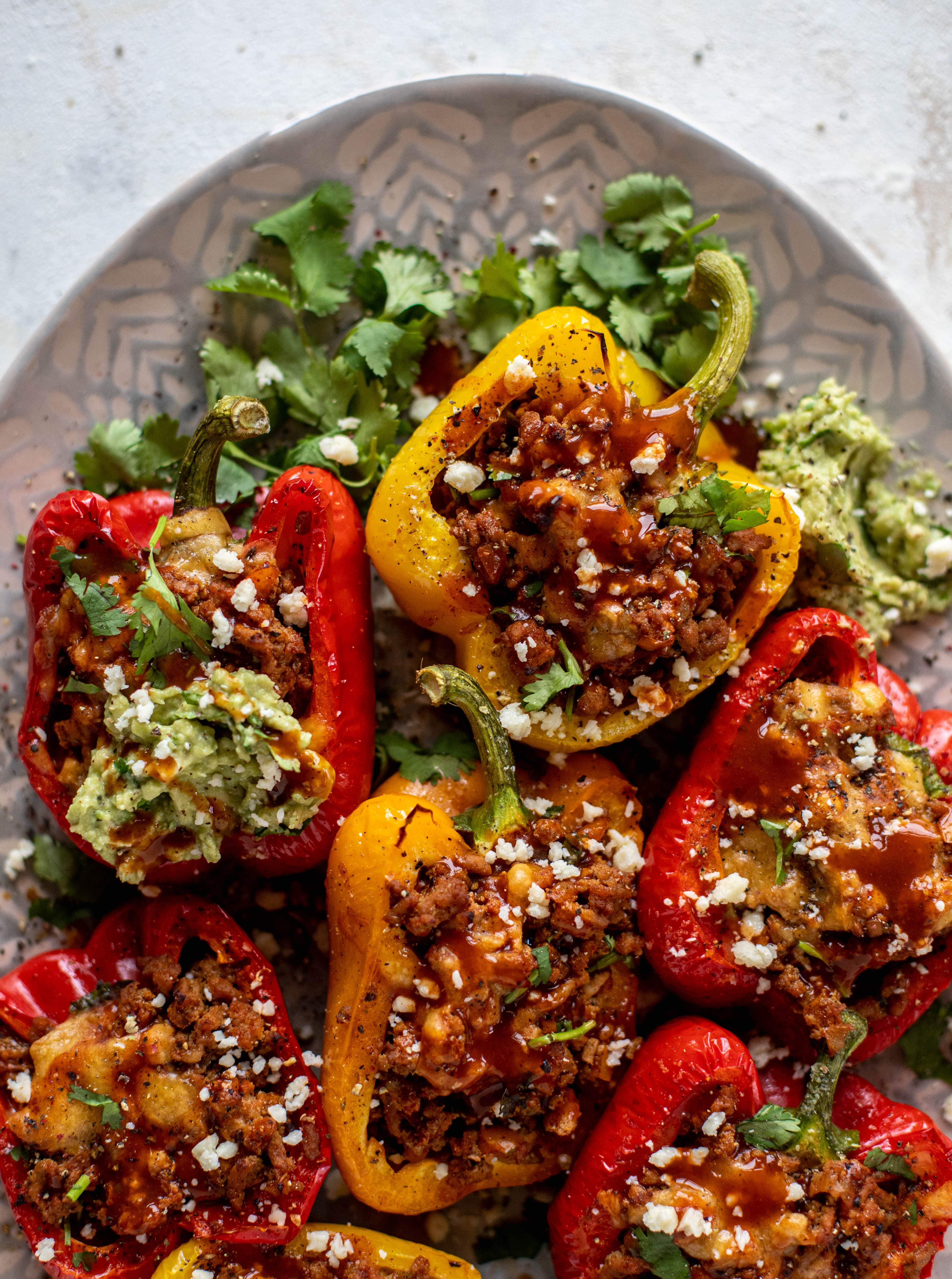 My favorite ground turkey taco stuffed peppers are the best weeknight meal! The turkey is flavorful and juicy. The peppers are deliciously roasted. Yum!