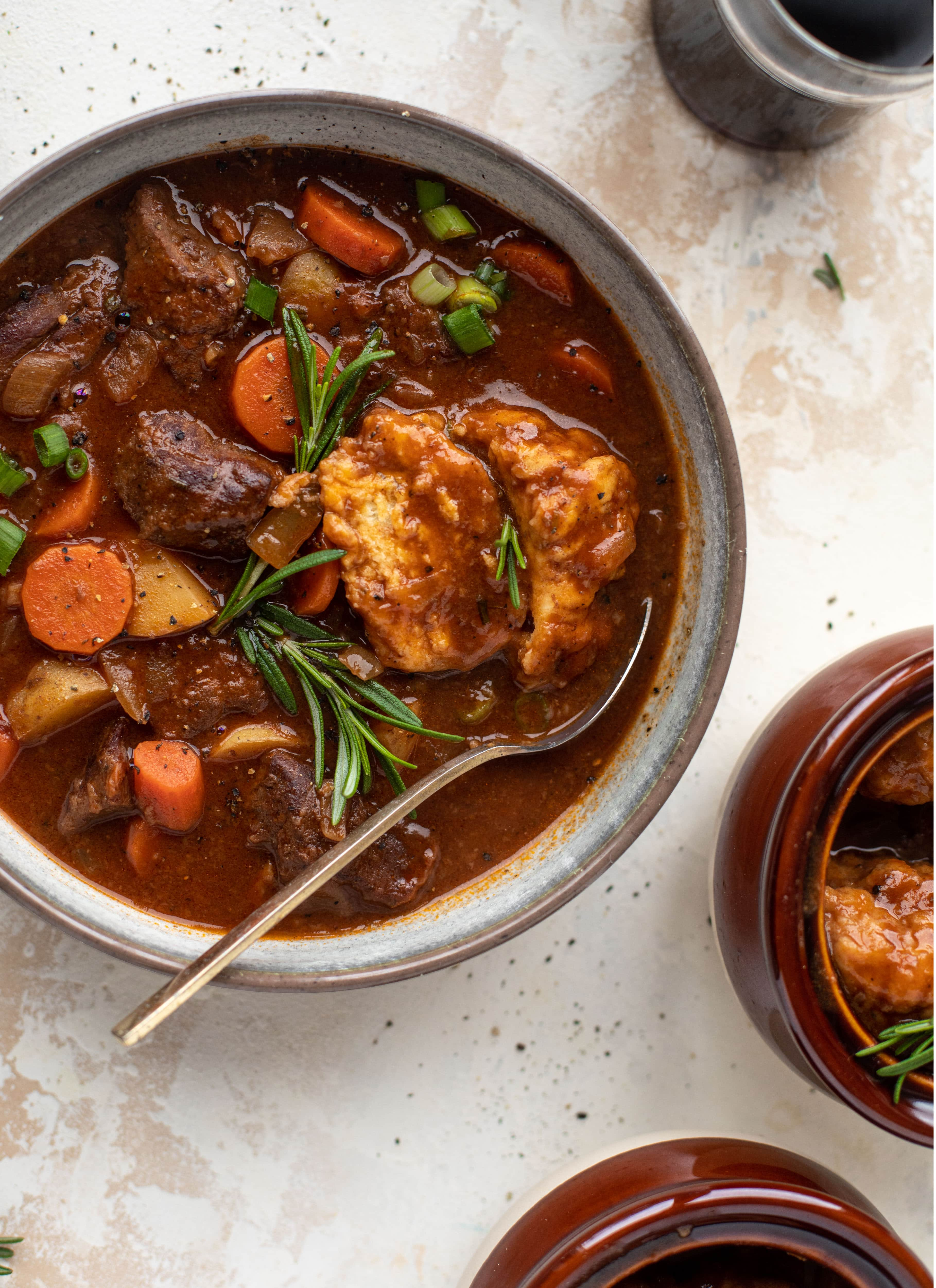 My new favorite soup! Irish stout beef stew is flavorful and hearty and topped with delicious herb dumplings. Perfect comfort food.
