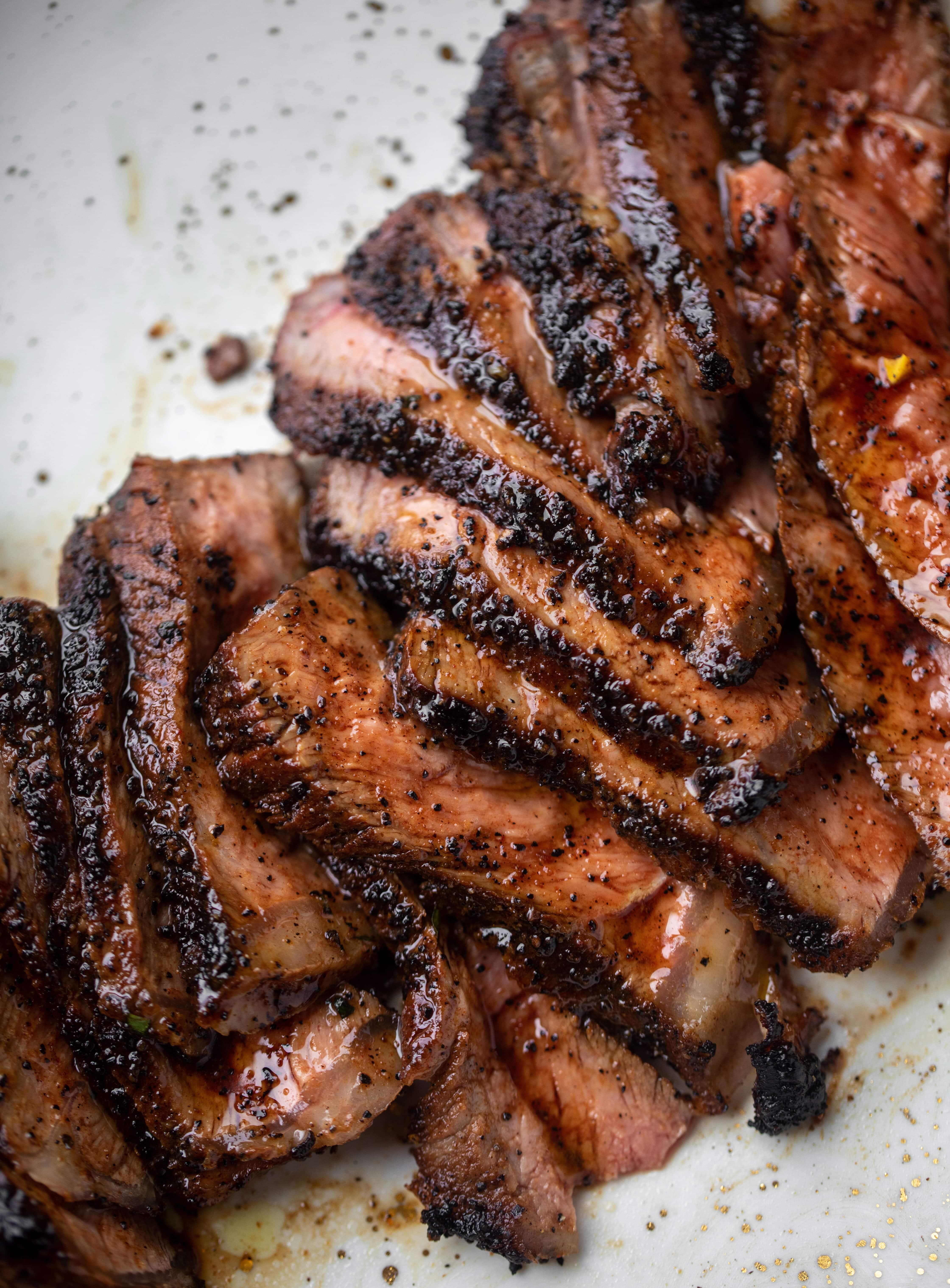 sliced coffee crusted steak