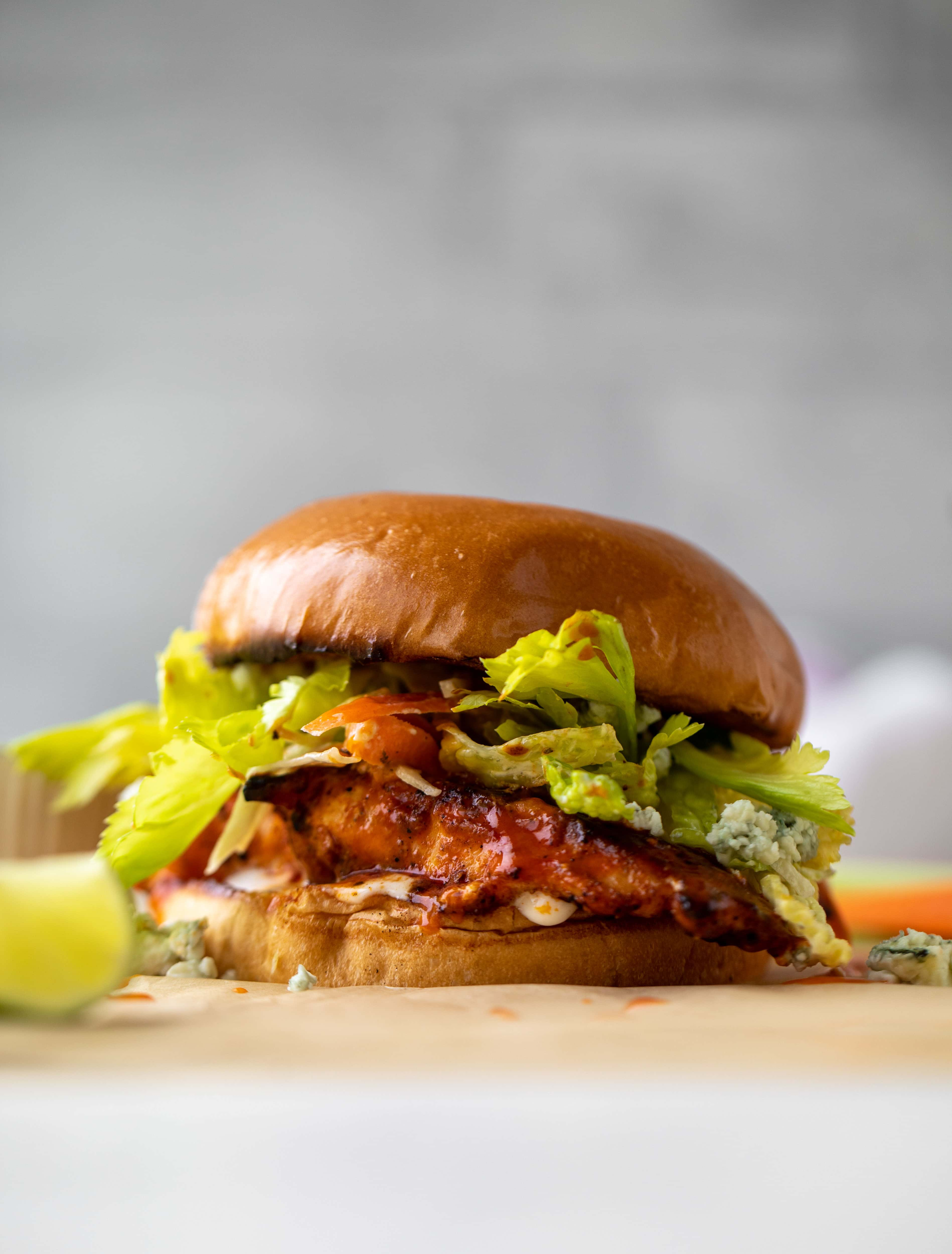 grilled buffalo chicken sandwiches with gorgonzola slaw