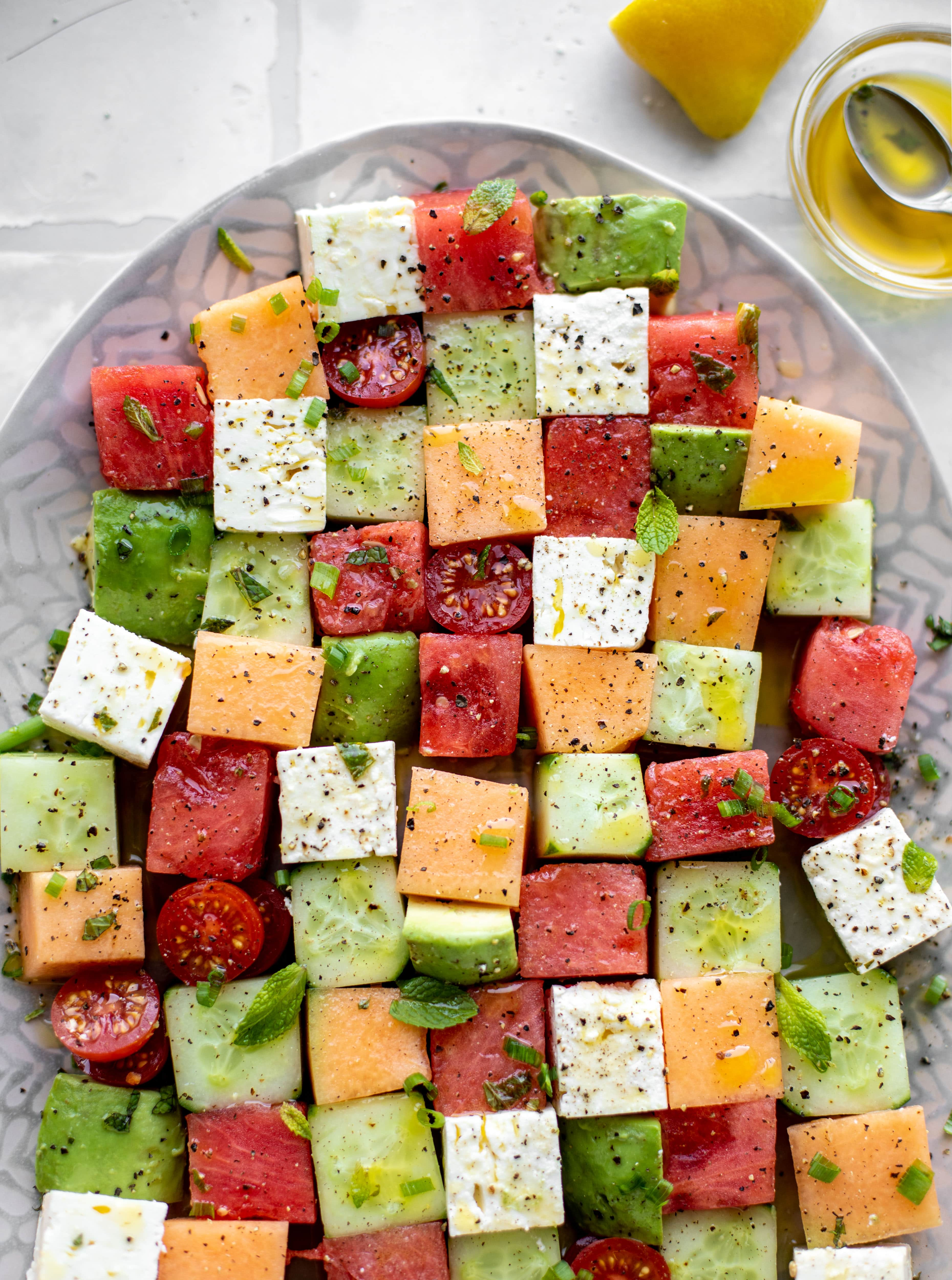 melon mosaic salad with hot honey vinaigrette