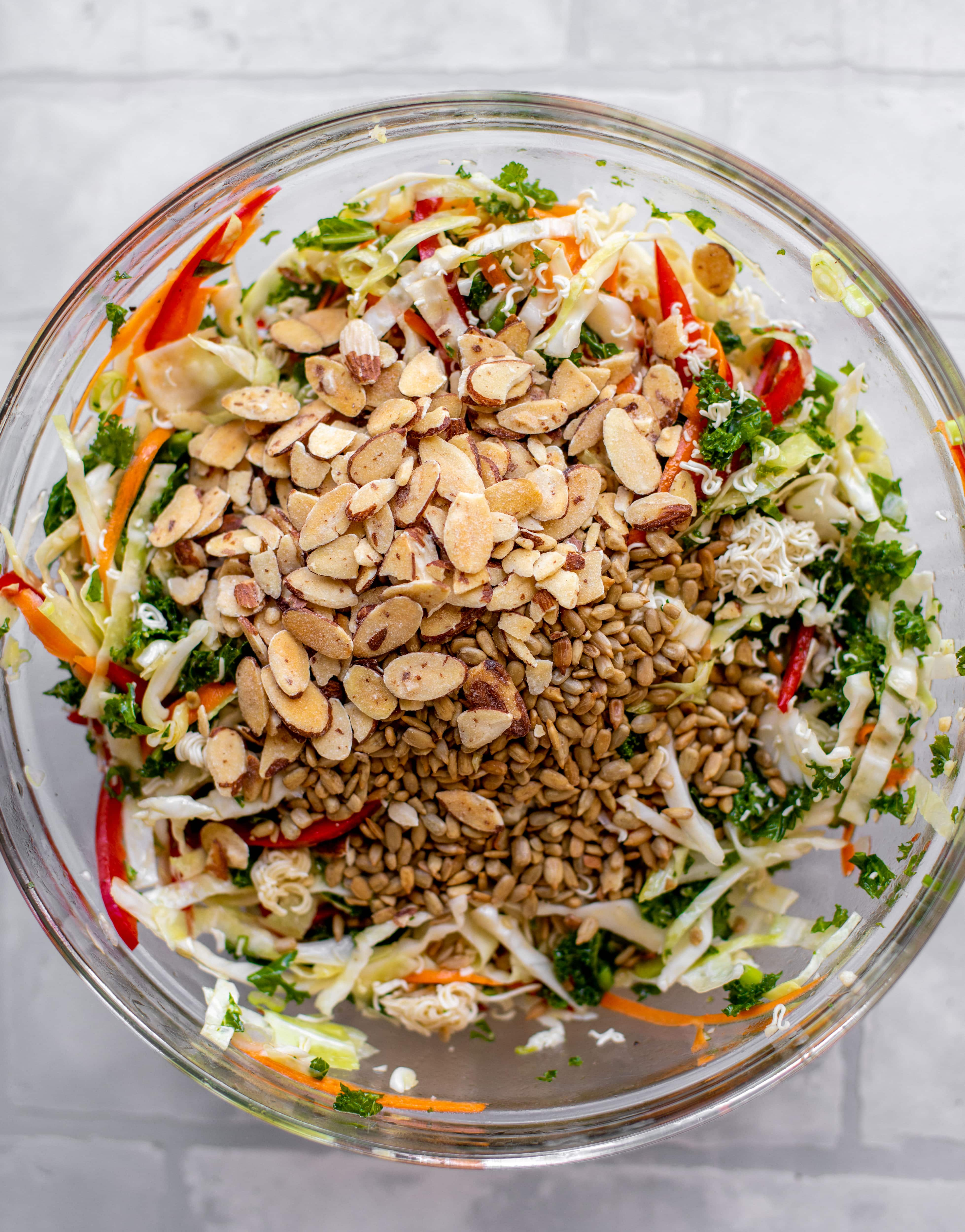 almonds and sunflower seeds on salad