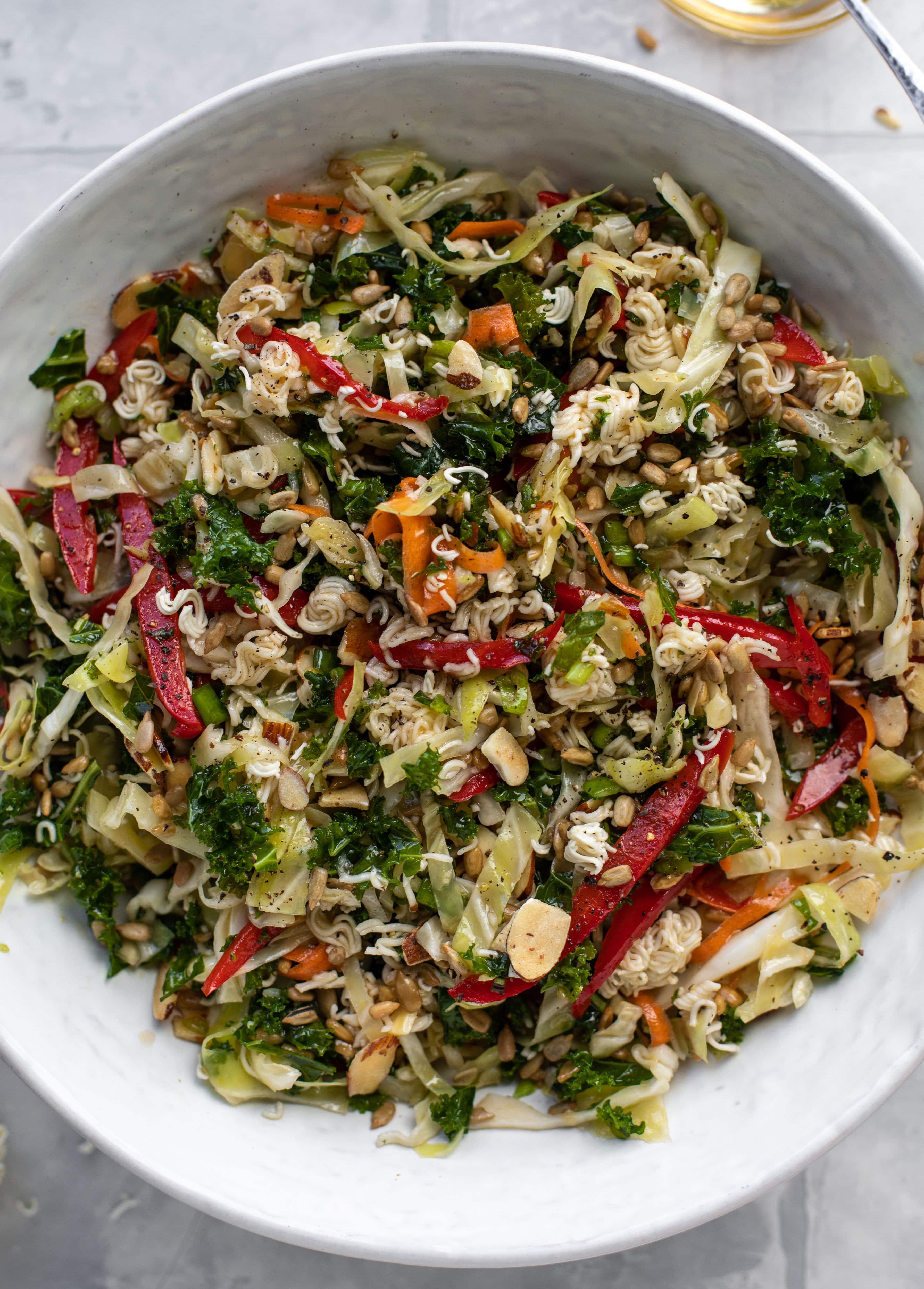 up close ramen noodle crunch salad