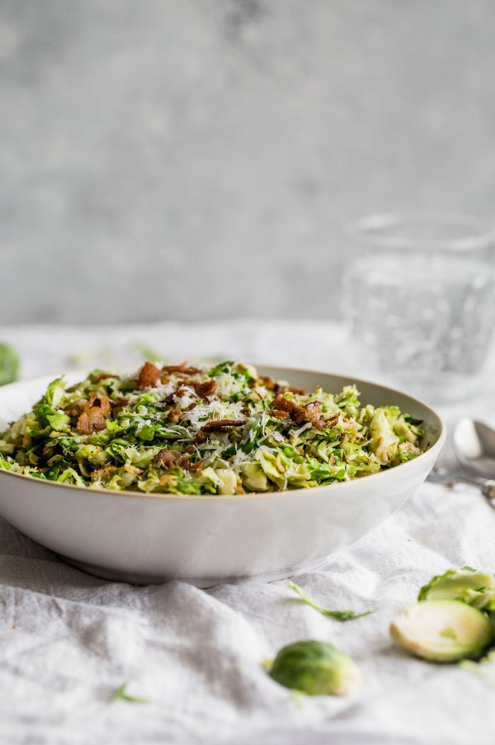 shredded brussels sprouts salad I howsweeteats.com