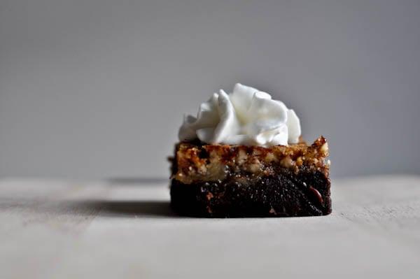 Bourbon Pecan Pie Brownies I howsweeteats.com