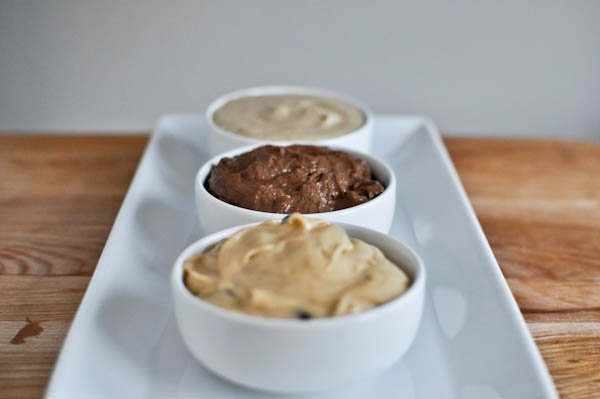 Snickerdoodle, Peanut Butter and Double Fudge Cookie Dough Dips I howsweeteats.com
