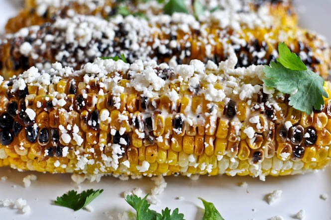 Grilled Corn with Bacon Butter and Cotija Cheese I howsweeteats.com