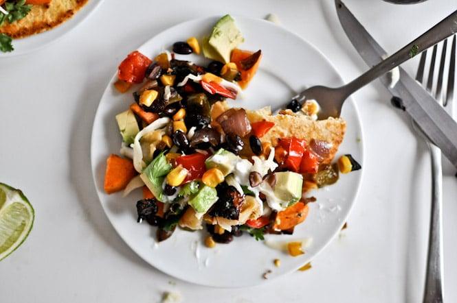 Roasted Garlic + Caramelized Veggie Tostadas I howsweeteats.com
