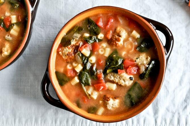 Mini Chicken Meatball Soup I howsweeteats.com