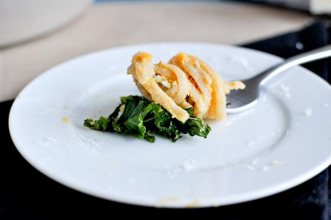 Sweet Potato Cream Pasta with Crispy Kale I howsweeteats.com